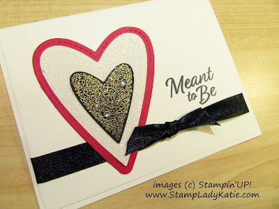 Wedding card made with Stampin'UP!'s Be Mine Stitched Framelits Dies and Meant to Be stamp set