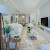 Sala de tv estreita, branca e amadeirada com revestimento hexágono e poltronas em pelúcia!