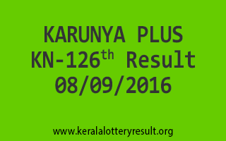 KARUNYA PLUS KN 126 Lottery Results 8-9-2016