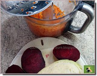 Vie quotidienne de FLaure : Salade composée d'hiver : carotte, betterave crue, chou blanc