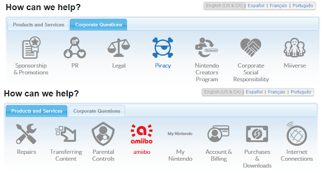 Nintendo Support topics questions icons products and services corporate