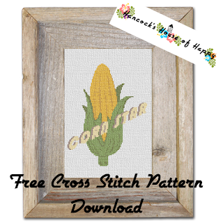 free corn on the cob corn star cross stitch pattern to download