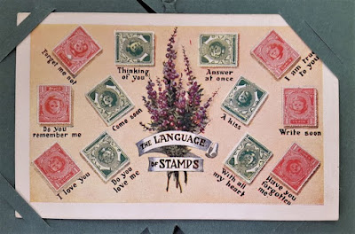 Carmen Wing Art Blog - Mail Art - Vintage postcard with the secret code language of postal stamps