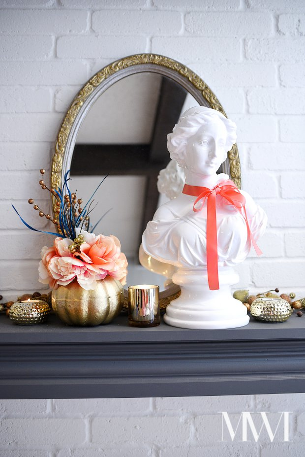 A chic and feminine twist on fall decor. Lots of gold glam touches mixed with coral and other metallics.