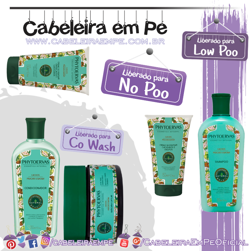 Shampoo (Low Poo) Condicionador, Máscara e Cremes para Pentear (No Poo) - Phytoervas
