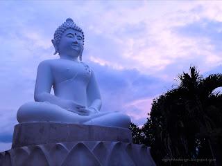 Dhyana Mudra Big White Buddha Meditation Statue At Buddhist Temple, North Bali, Indonesia