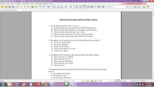 Contoh soal tes P3K/PPPK guru agama dan kunci jawaban