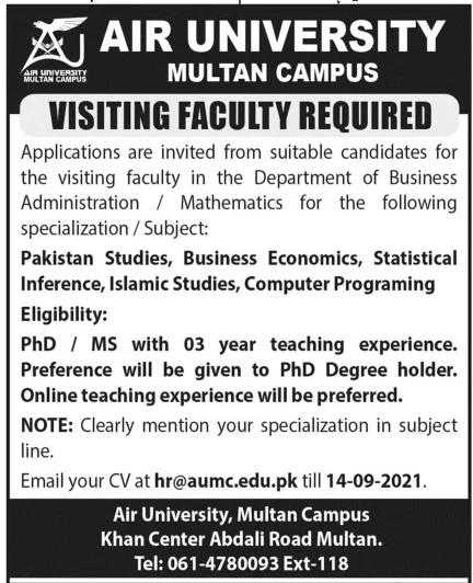 hr@aumc.edu.pk - AU Air University Islamabad Jobs 2021 in Pakistan