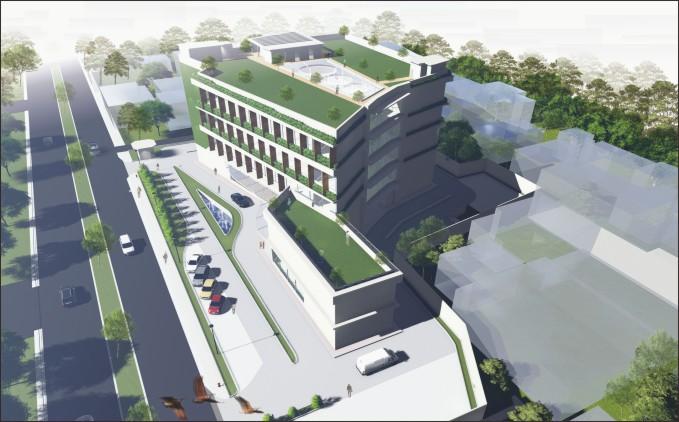desain office park konsep green architecture