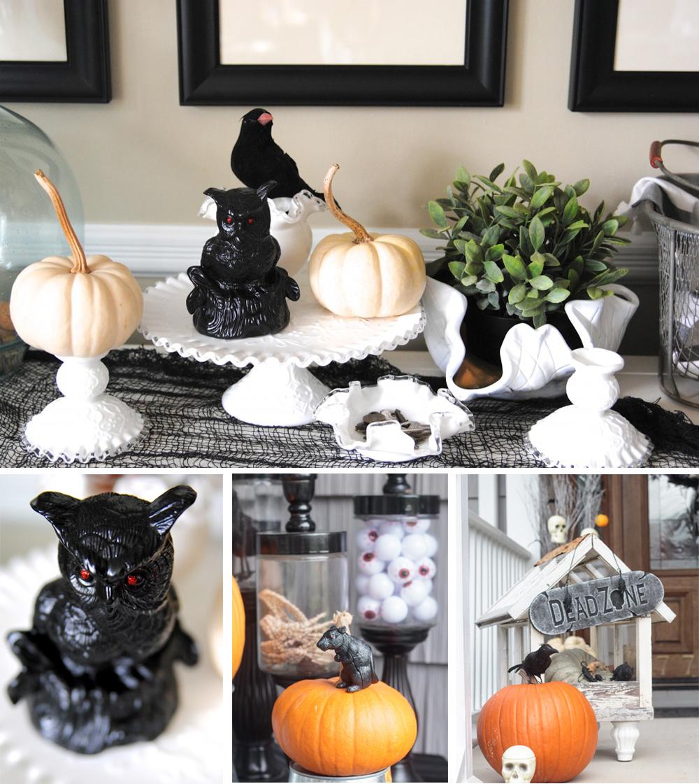 diy para decorar en halloween con figuras terrorificas de animales negros y ojos rojos fácil y económico