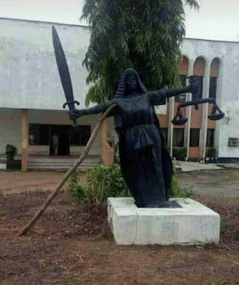 Statue In Front Of Supreme Court Supported With A Stick 1