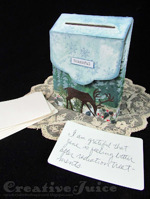 Lisa Hoel for the Funkie Junkie Boutique - 'A Time to be Grateful' challenge, project using Eileen Hull's Post Box Die from Sizzix