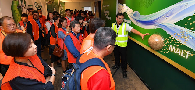 Guests were led on a guided tour which started at the Visitor's Gallery to learn of the history of Carlsberg and its founder J.C. Jacobsen, as well as the beer making process