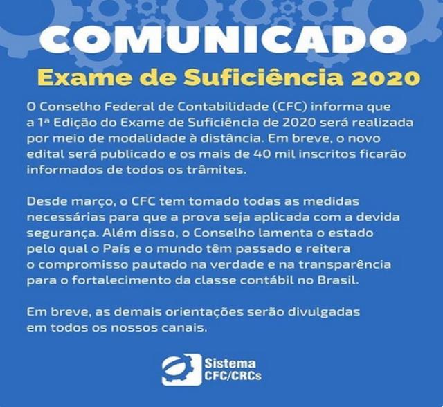 Conselho Regional de Contabilidade, Exame de Suficiência Profissional, Conselho Federal de Contabilidade,  CFC, Valdivino de Sousa, Comunicado do CFC, Agora é oficial, Prova do CFC 2020.1, CFC 2020.1 será online, Agora é oficial: A prova do CFC 2020.1, Exame de sufciência será online, Exame de sufciência será à distância, Prova do Exame de sufciência será online, Prova do CFC será online, Comunicado sobre a prova do CFC, CFC prova será online, Exame do CFC será à distância, Suficiência 2020.1 à distância, Comunicado Suficiência 2020.1 à distância, Comunicado CFC Suficiência 2020.1, Comunicado do CFC sobre o exame, Prova do CFC, 2020.1 será aplicado, à distância online, CFC, CFC prova, Comunicado do CFC, Exame de suficiência, Notícias, oficial, Online, Prova do CFC 2020.1, prova Online, Trends, Uol,