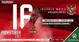 Jadwal Siaran Langsung Timnas Indonesia U-23 vs Suriah