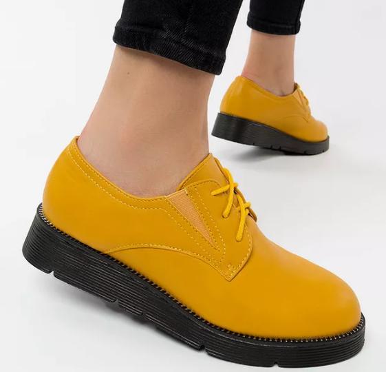 Pantofi casual dama galbeni din imitatie de piele