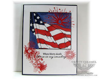 Crafty Colonel Donna Nuce for Cards in Envy Challenge Blog, Rubber Cafe flag stamp, CTMH Home of the Brave and Kaboom