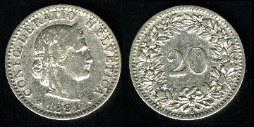 Switzerland  20 Rappen 2002 nickel