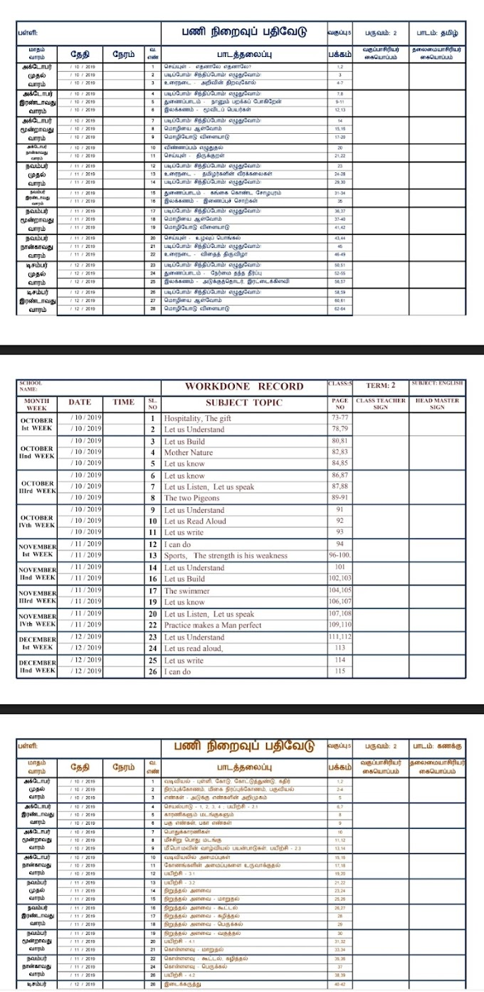 Work Done Record For 1-5th Std all Subject register