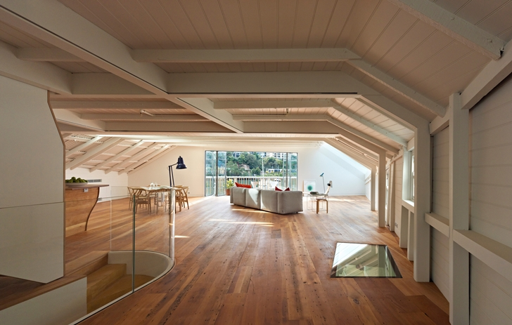 Large interior of Lavender Bay Boatshed by Stephen Collier Architects