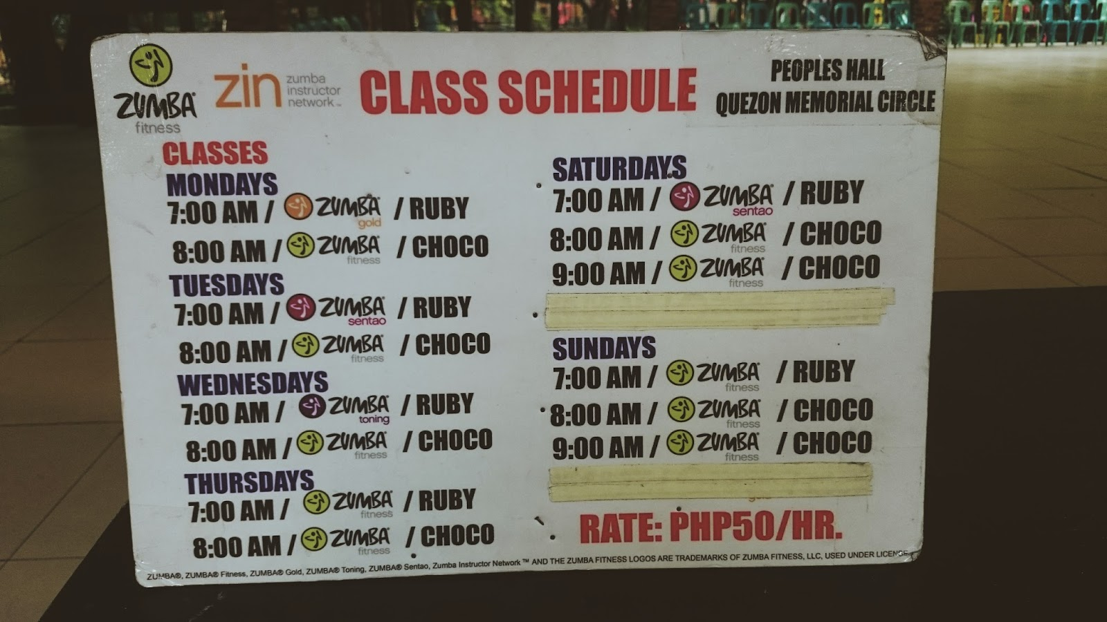 Zumba Schedule - People's Hall, Quezon Memorial Circle