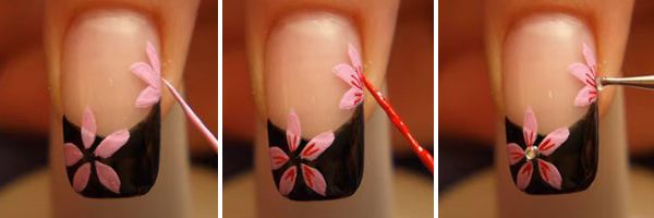 pintando a unha decorada com flores com esmalte