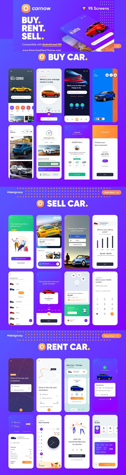 Carnow - Car buy, rent and sell Mobile app UI kit