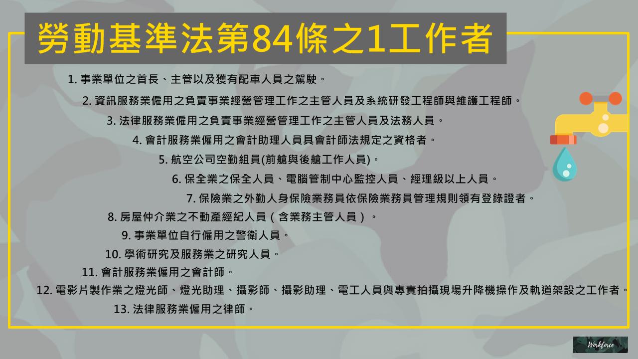 勞動基準法第84-1條工作者