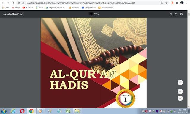 Buku Al-Qur'an Hadis kelas 1 sd/mi sesuai kma 183 tahun 2019