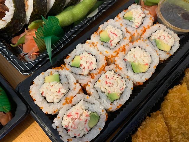 California sushi rolls, covered in orange caviar