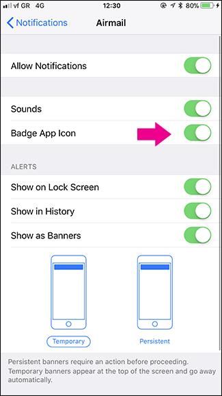 Eliminare etichette di notifica mail sull'iPhone