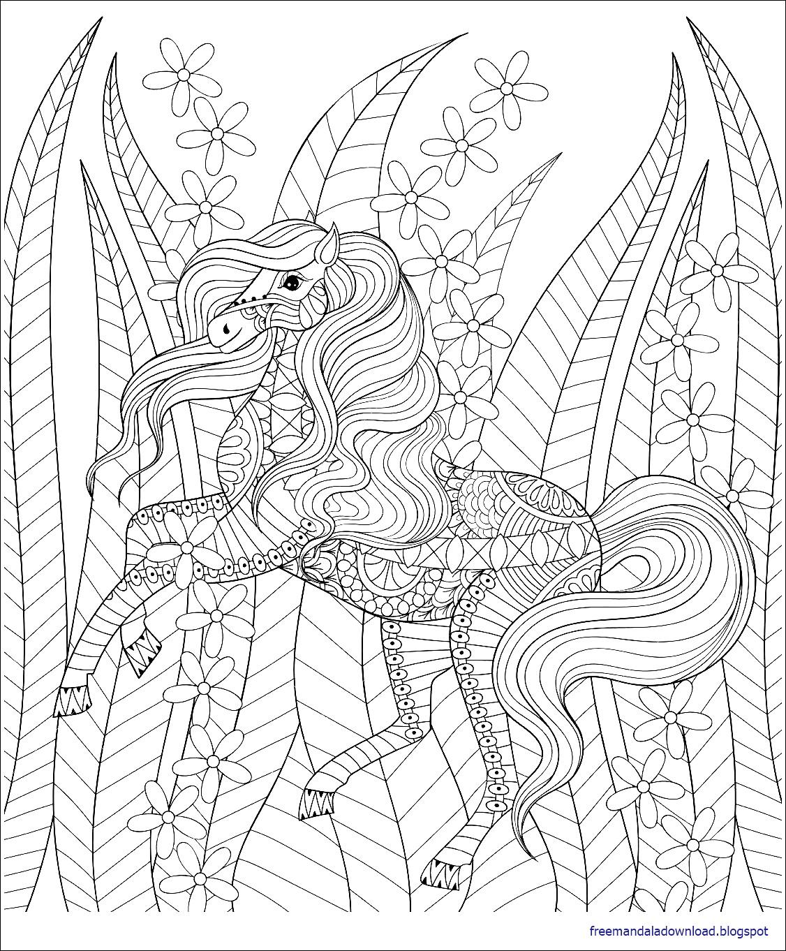 malvorlagen pferd mandala  free mandala