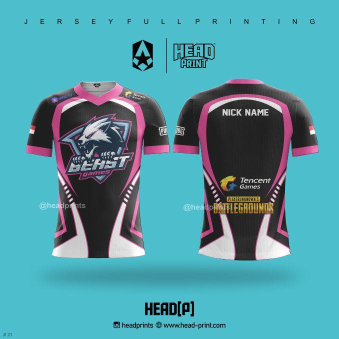 PUBG Jersey - Beast games Pink Hitam - Contoh Desain Jersey - Jersey Satuan