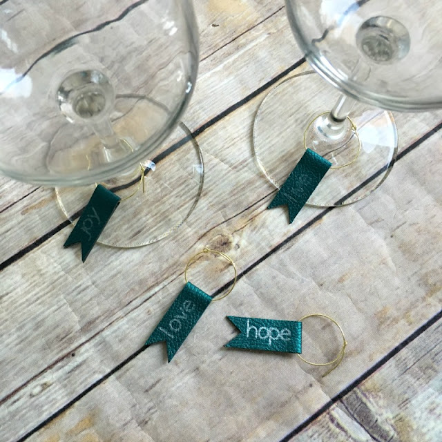 I am am using the Knife Blade and Metallic Pen in my Cricut Maker to make custom wine glass charms, perfect for Valentine's Day or for a hostess gift.