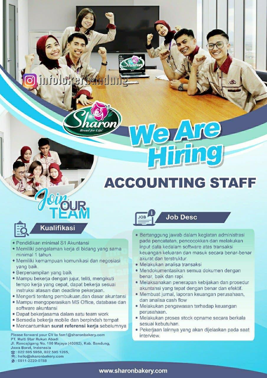 Lowongan Kerja PT. Multi Star Rukun Abadi ( Sharon Bakery ) Bandung April 2021