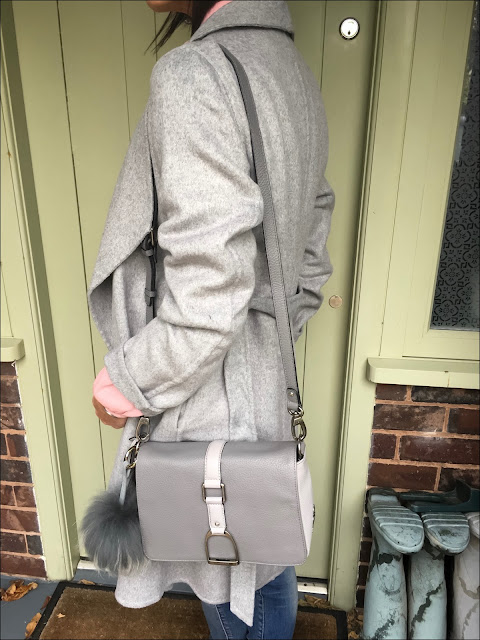My Midlife Fashion, Laura Ashley tie waist wrap coat, village england fulmer bag