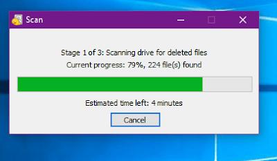 Gambar ilustrasi proses Scanning di aplikasi recuva