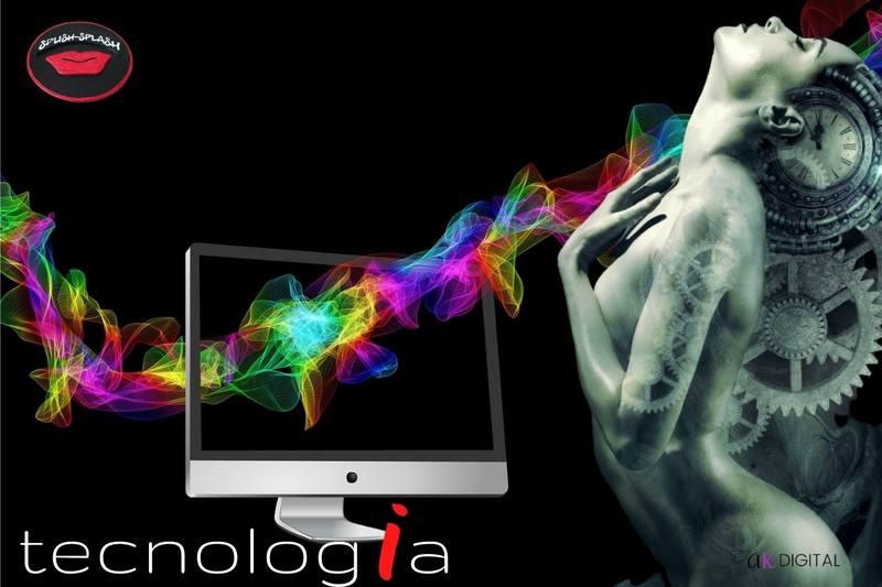 Computador feixes de luz néon figura feminina mecânica