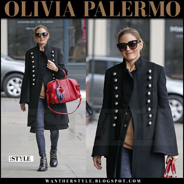 Olivia Palermo in black military burberry coat, skinny jeans with red bag what she wore march 2017