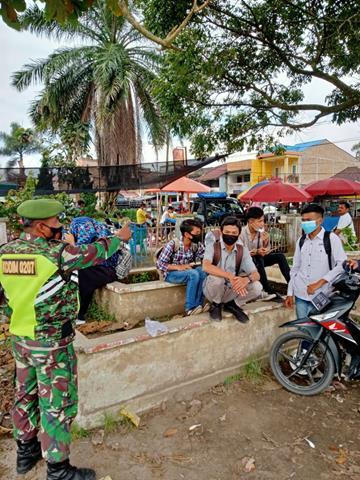Tetap Tegakkan Protokol Kesehatan Diwilayah Binaan Dilakukan Personel Jajaran Kodim 0207/Simalungun