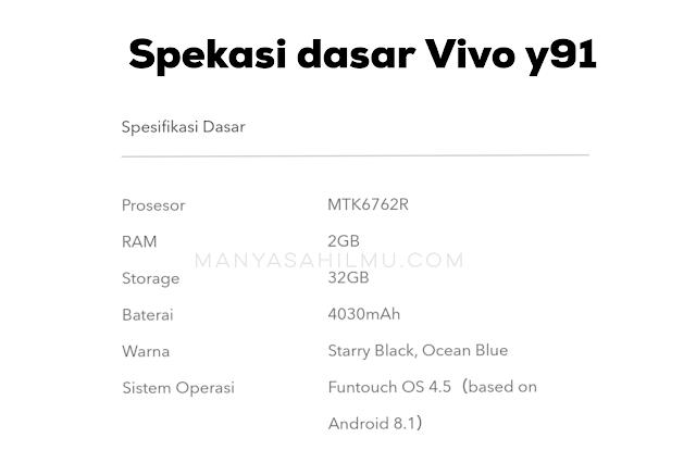 Harga hp Vivo Y91 spesifikasi