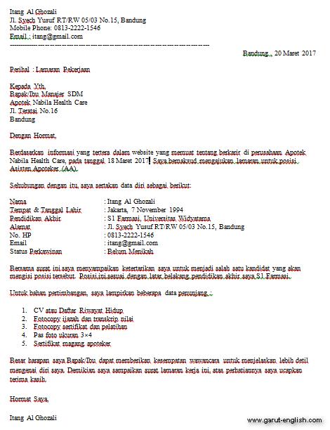 Surat Lamaran Kerja Apoteker Terbaru Info Kerja