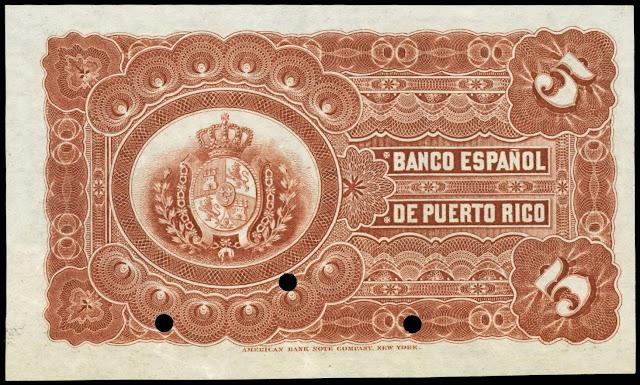 Puerto Rico money 5 Pesos Banco Espanol de Puerto Rico