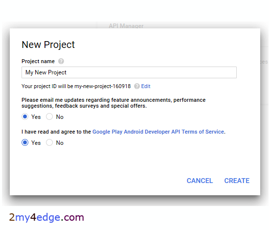 How to create google pi new project