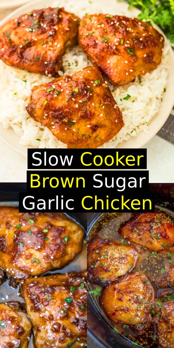 Slow Cooker Brown Sugar Garlic Chicken made with just five ingredients, you can set it in minutes and have the perfect weeknight meal! #slowcooker #crockpot #chicken #chickenrecipe #dinner