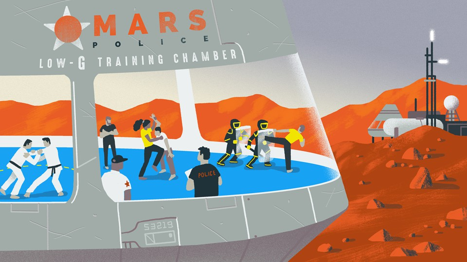 Mars Police training illustration by Matt Chinworth