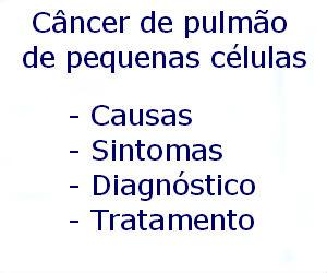 Câncer de pulmão de pequenas células causas sintomas diagnóstico tratamento prevenção riscos complicações
