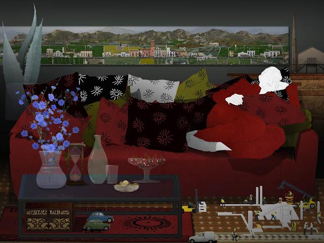 dibujo, mujer , dormitando, en su sofa rojo