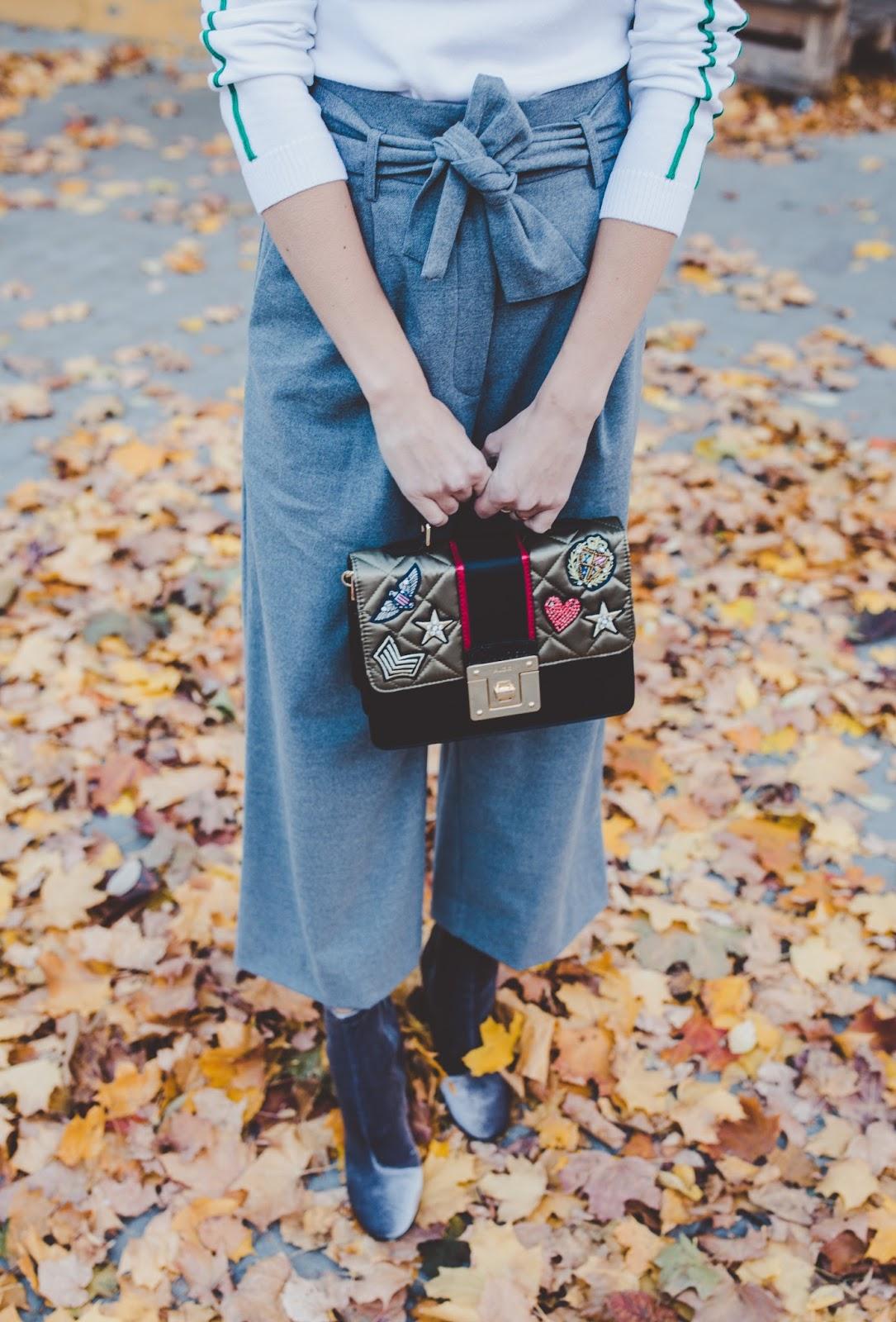 grey wool paperbag waist culotte pants