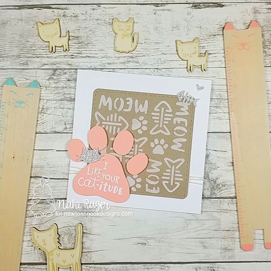 Pawprint Square Card by Naki Rager | Cat-itude Stamp Set, Pawprint Shaker Die, Frames Squared Die Set & Meow Stencil by Newton's Nook Designs #newtonsnook #handmade